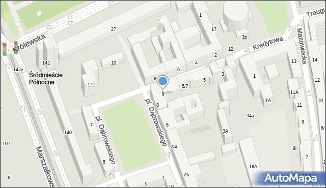 Warszawa, Kredytowa, 9, mapa Warszawy