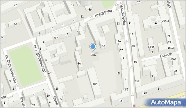 Warszawa, Kredytowa, 34a, mapa Warszawy