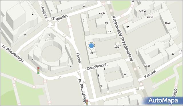 Warszawa, Krakowskie Przedmieście, 15, mapa Warszawy