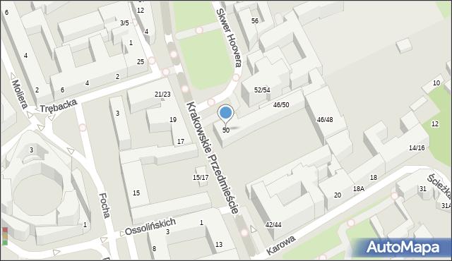 Warszawa, Krakowskie Przedmieście, 50, mapa Warszawy