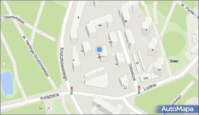 Warszawa, Kruczkowskiego Leona, 4B, mapa Warszawy