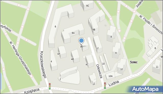 Warszawa, Kruczkowskiego Leona, 4D, mapa Warszawy