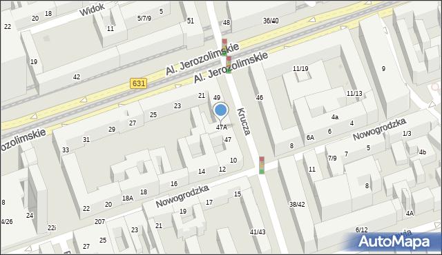 Warszawa, Krucza, 47A, mapa Warszawy