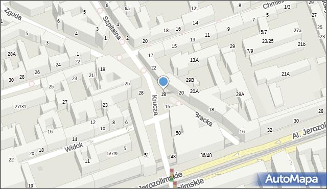 Warszawa, Krucza, 18, mapa Warszawy
