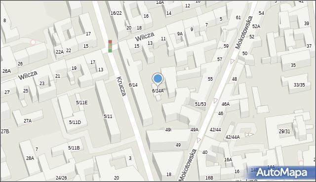 Warszawa, Krucza, 6/14A, mapa Warszawy