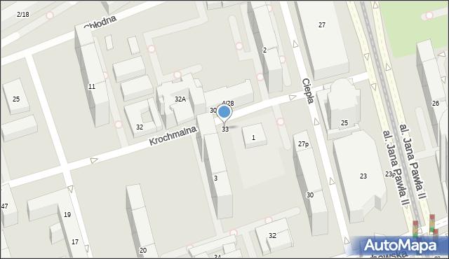 Warszawa, Krochmalna, 33, mapa Warszawy