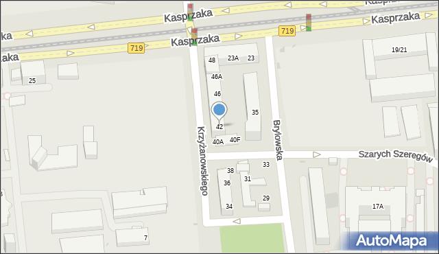 Warszawa, Krzyżanowskiego Seweryna, 42, mapa Warszawy