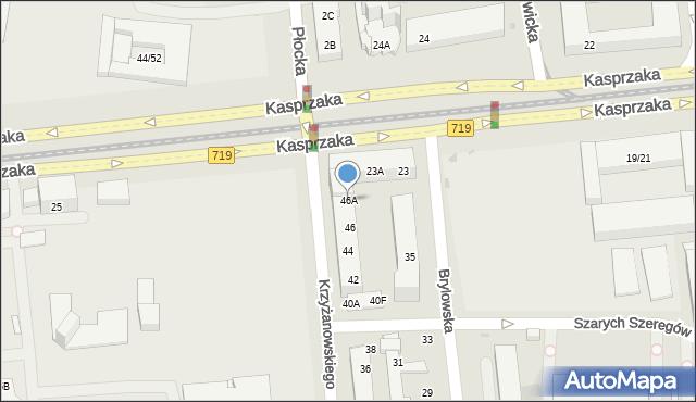 Warszawa, Krzyżanowskiego Seweryna, 46A, mapa Warszawy