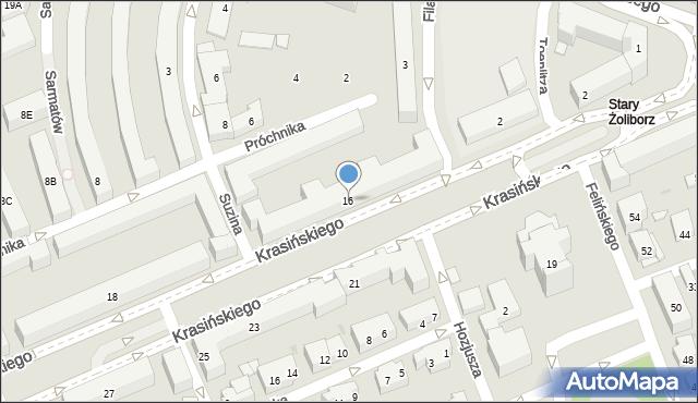Warszawa, Krasińskiego Zygmunta, 16, mapa Warszawy