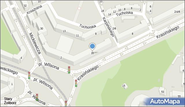 Warszawa, Krasińskiego Zygmunta, 10, mapa Warszawy