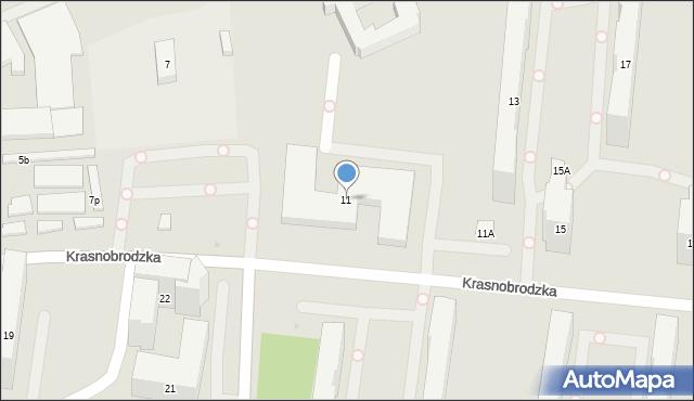 Warszawa, Krasnobrodzka, 11, mapa Warszawy