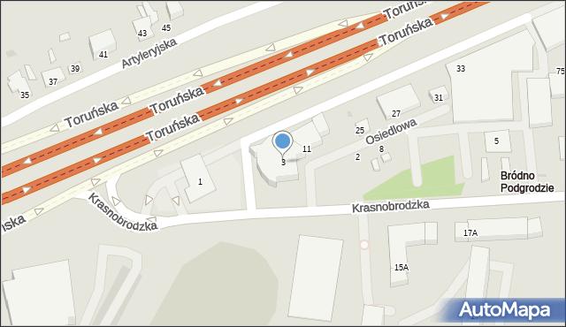 Warszawa, Krasnobrodzka, 3, mapa Warszawy