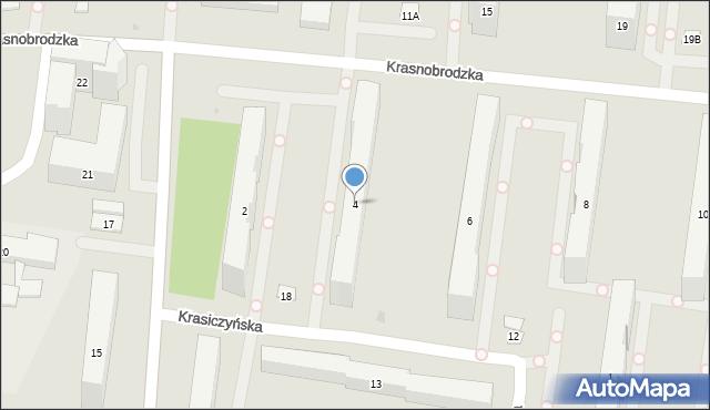 Warszawa, Krasnobrodzka, 4, mapa Warszawy