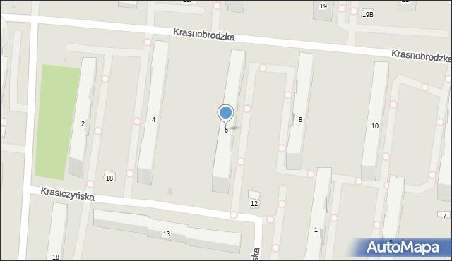 Warszawa, Krasnobrodzka, 6, mapa Warszawy