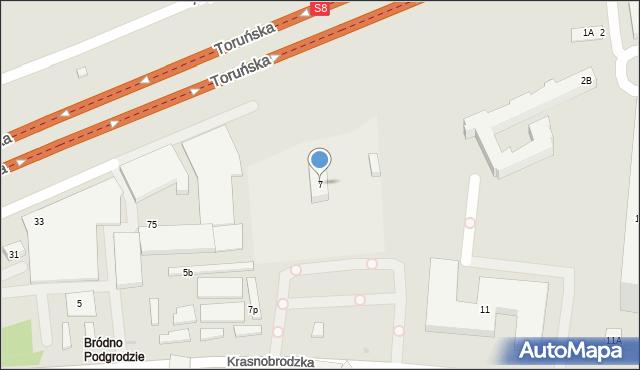 Warszawa, Krasnobrodzka, 7, mapa Warszawy