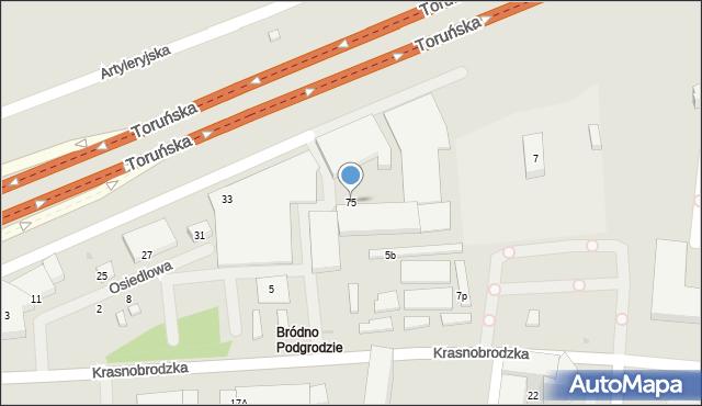 Warszawa, Krasnobrodzka, 75, mapa Warszawy