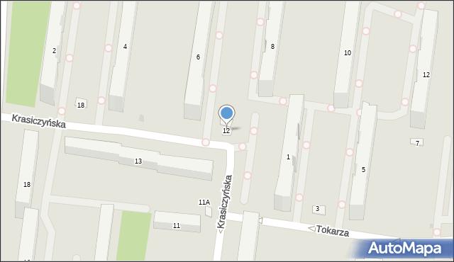 Warszawa, Krasiczyńska, 12, mapa Warszawy