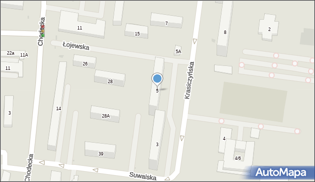 Warszawa, Krasiczyńska, 5, mapa Warszawy