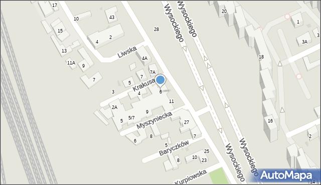 Warszawa, Krakusa, 6, mapa Warszawy