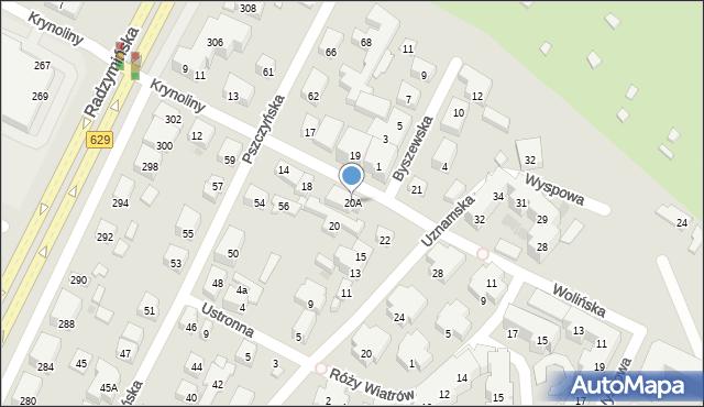 Warszawa, Krynoliny, 20A, mapa Warszawy