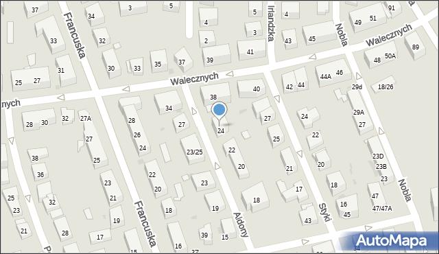 Warszawa, Królowej Aldony, 24A, mapa Warszawy