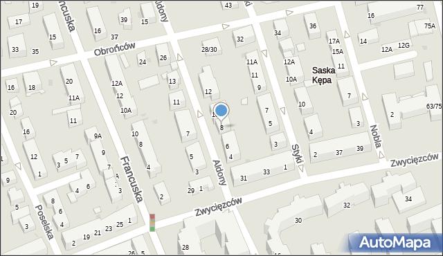 Warszawa, Królowej Aldony, 8, mapa Warszawy