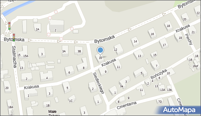 Zabrze, Krakusa, 10, mapa Zabrza