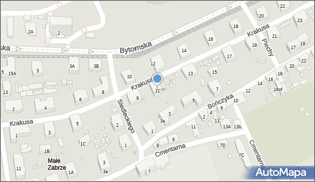 Zabrze, Krakusa, 11, mapa Zabrza