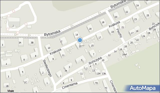 Zabrze, Krakusa, 13, mapa Zabrza