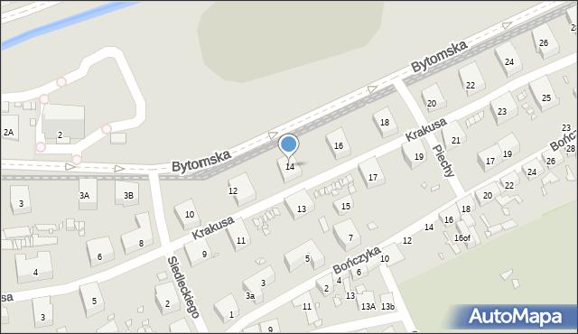 Zabrze, Krakusa, 14, mapa Zabrza