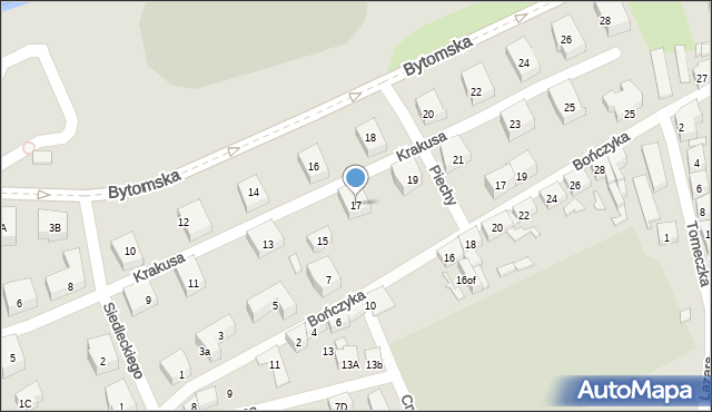 Zabrze, Krakusa, 17, mapa Zabrza