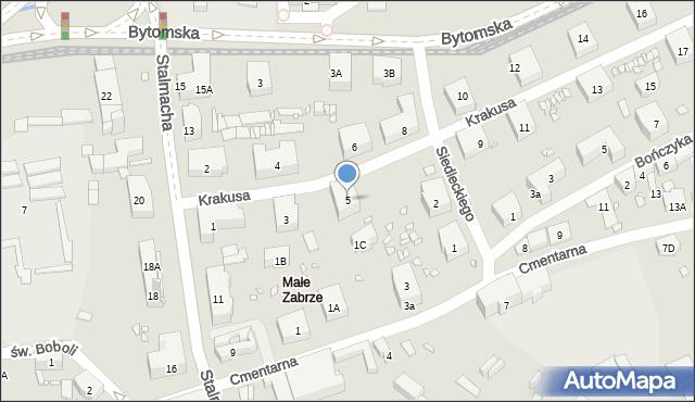 Zabrze, Krakusa, 5, mapa Zabrza
