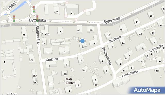 Zabrze, Krakusa, 6, mapa Zabrza