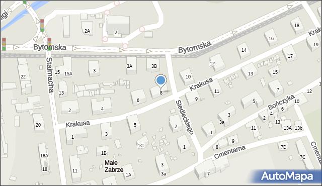 Zabrze, Krakusa, 8, mapa Zabrza