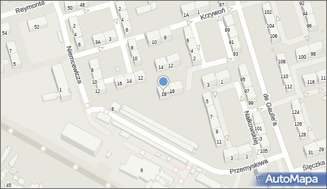 Zabrze, Krzywoń Anieli, 18, mapa Zabrza