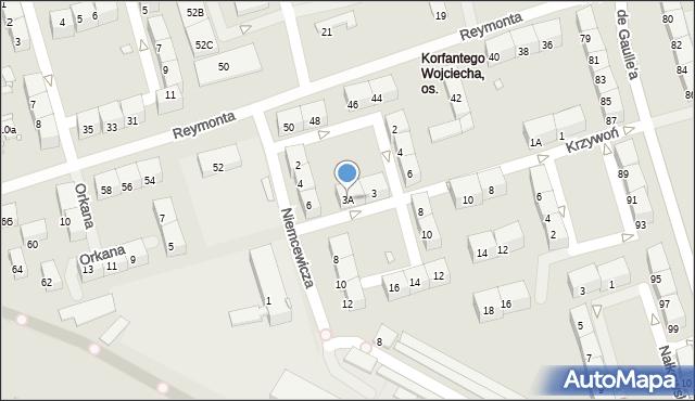 Zabrze, Krzywoń Anieli, 3A, mapa Zabrza