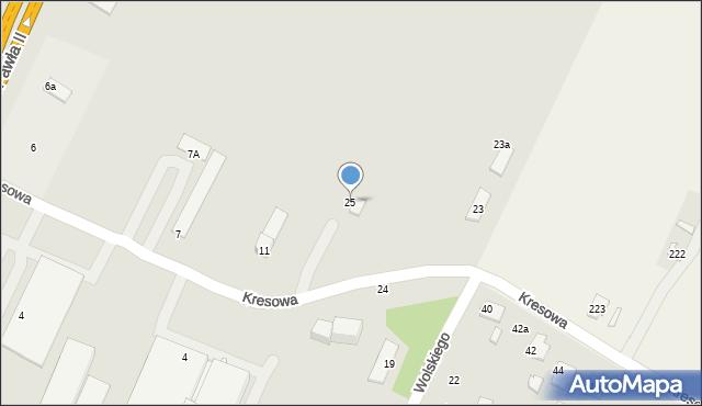 Zamość, Kresowa, 25, mapa Zamościa