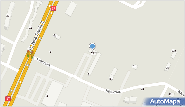 Zamość, Kresowa, 7A, mapa Zamościa