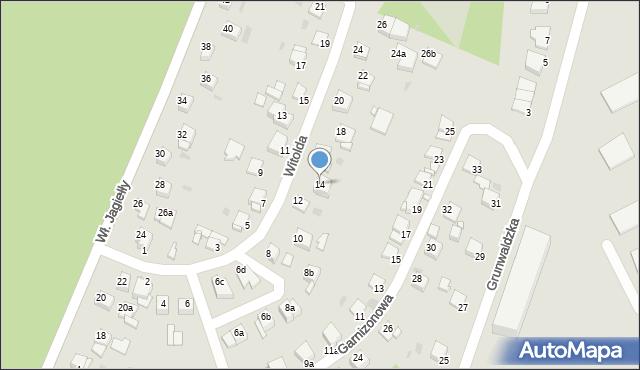 Grudziądz, Księcia Witolda, 14, mapa Grudziądza