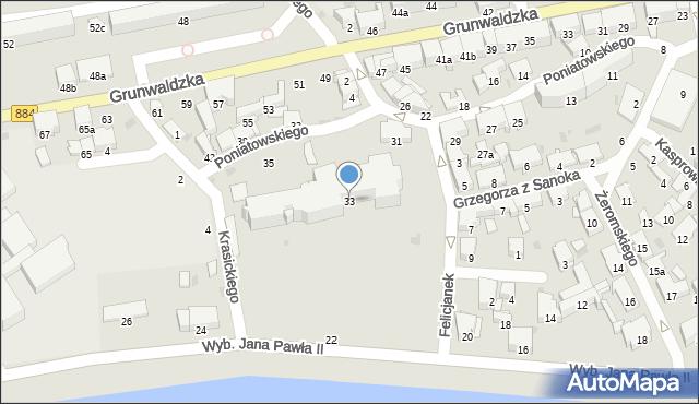 Przemyśl, Księcia Józefa Poniatowskiego, 33, mapa Przemyśla