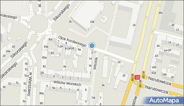 Szczecin, Księcia Witolda, 1, mapa Szczecina