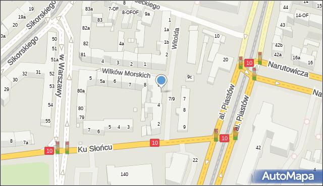 Szczecin, Księcia Witolda, 3, mapa Szczecina