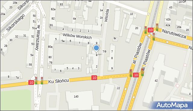 Szczecin, Księcia Witolda, 4, mapa Szczecina