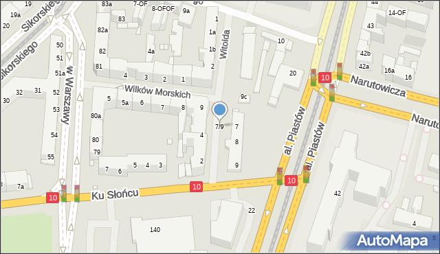 Szczecin, Księcia Witolda, 7/9, mapa Szczecina
