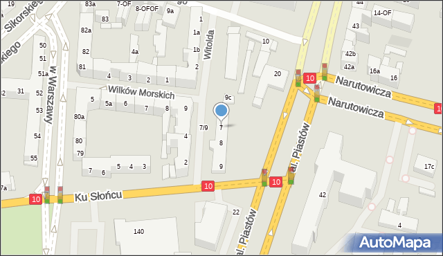 Szczecin, Księcia Witolda, 7, mapa Szczecina
