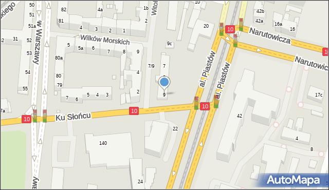 Szczecin, Księcia Witolda, 9, mapa Szczecina