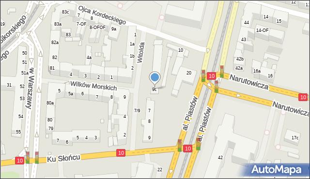Szczecin, Księcia Witolda, 9c, mapa Szczecina