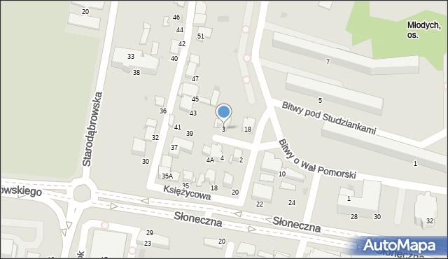 Tarnów, Księżycowa, 3, mapa Tarnów