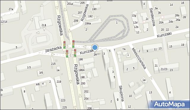 Łódź, Kurczaki, 1A, mapa Łodzi