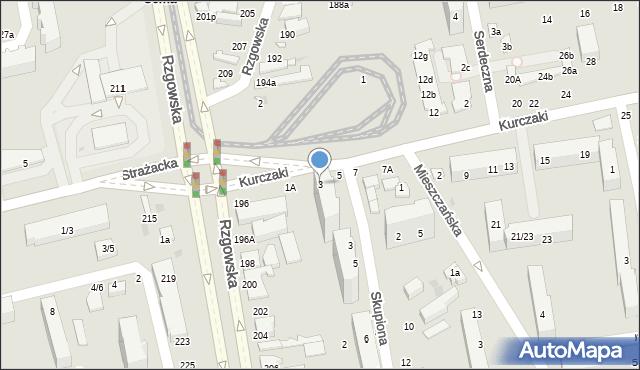Łódź, Kurczaki, 3, mapa Łodzi